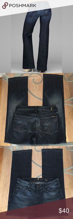 7 for all Mankind Dojo Trouser Jeans, size 28 7 for all mankind Dojo Trouser Jeans in size 28. Flat lay measure of the waist is 15.5. Rise is 8, inseam is 30 and leg opening is 8.75. These have been hemmed to an inseam of 30. Made from 98% cotton and 2% elastan. In excellent condition, please ask if you have any questions. 7 For All Mankind Jeans