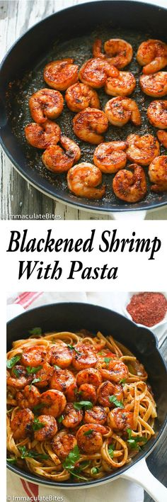 Blackened Shrimp and Pasta – A Completely satisfying combination of blackened shrimp and pasta in a spicy  flavorful sauce.  Ready in  30 minutes. Good enough for date night or entertaining. If you are struggling to get dinner on the table on weeknights then here is your solution. In my household, it gets pretty hectic sometimes …