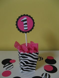 Minnie Mouse birthday centerpiece ZEBRA  print table by missdaisyw, $8.00
