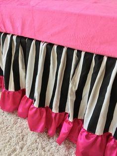 Black and White Stripe and Hot Pink Gathered Crib Skirt