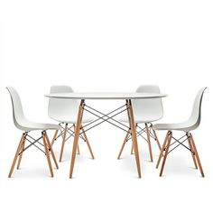 Buy the Charles Eames Style DSW Round 120cm Dining Table with Eames Style DSW Chairs at Oak Furniture Superstore