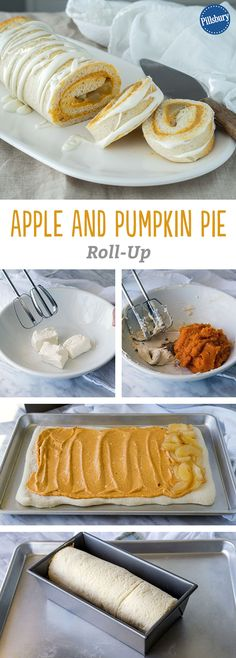 Celebrate the best of Fall with a double pie-stuffed roll-up no one will be able to resist! This Apple And Pumpkin Pie Roll-Up is made with our classic pizza crust and a host of other delicious ingredients. It's the perfect dessert for a Fall get-together or party.