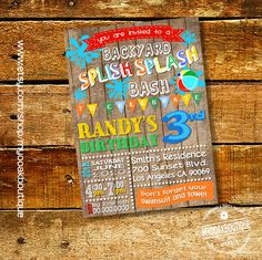 Splish Splash Party Invitation Waterslide Birthday Backyard Bash Summer Wood Invite Digital Printable