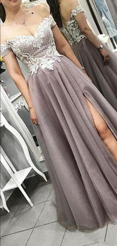 Gray Tulle Evening Dress Off The Shoulder Party Dress Lace Bodice Prom Gowns With Split Prom Dress on Luulla Split Prom Dresses, Grey Prom Dress, Prom Dresses For Teens, Tulle Prom Dress, Lace Evening Dresses, Cheap Prom Dresses, Trendy Dresses, Evening Gowns, Lace Dress