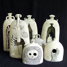 Collection of well crafted ceramic bottles