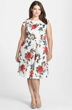 ABS by Allen Schwartz Vintage Floral Print Fit & Flare Dress (Plus Size) Fit And Flare, Fit Flare Dress, Dress Plus Size, Plus Size Outfits, Plus Size Fashion For Women, Plus Size Women, Retro Vintage Dresses, Vintage Floral, Plus Size Beauty