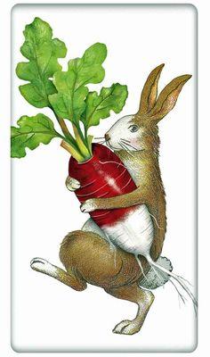 Rabbit with a Radish 100�0Cotton Flour Sack Dish Towel Tea Towel