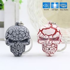 Funky LED Light and sound skull key chain Funky Decor, Glass Cutter, Head Shapes, Mens Gear, Red Led, Halloween Ghosts, Christmas Bulbs, Xmas, Key Chain