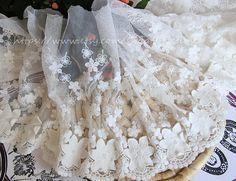 Ivory Embroidery Lace Trim  Vivid Floral Lace Bridal by lacetime