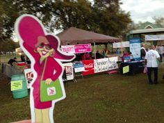 Flat Gloria visiting the breast cancer survivor area at the Komen Acadiana Race for the Cure in Lafayette, LA