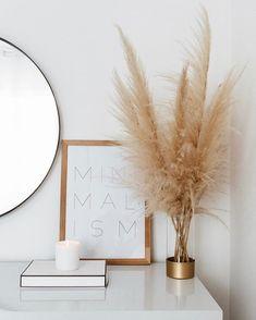 home decor minimalist pampas grass decor, minimali - Minimal Decor, Minimalist Home Decor, Minimalist Wardrobe, Minimal Style, Minimalist Living, Australian Home Decor, Australian Homes, Home Design, Interior Design