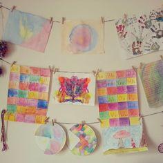Kids art wall ♡♡♥♥ #waldorfhomeschooling #waldorfhome