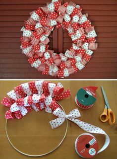 Ribbon Wreath #DIY #Christmas #Wreaths Ideas