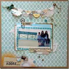 My Favorite collection! follow your heart-be happy  layout by lisa spiegel
