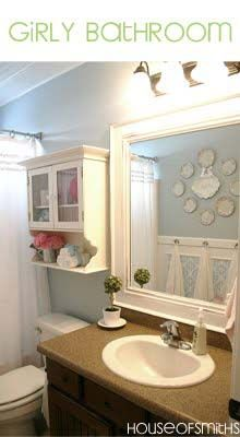 "Love the beadboard ceilings, doorknob towel hangers, pretty much everything--can use ideas for Emery's bathroom: still girly, but it doesn't scream ""KID BATHROOM"""