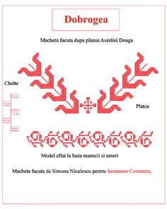 Dobrogea Folk Embroidery, Sewing Patterns, Cross Stitch, How To Make, Romania, Blouse, Costume, Traditional, Tattoos