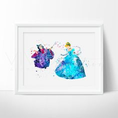 Cinderella & Fairy Godmother Watercolor Art - VIVIDEDITIONS - If you are looking for Tsum Tsum Plush Toys, Check out TsumTsumPlush.com