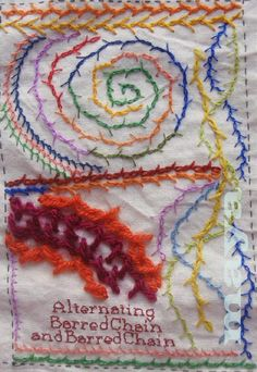 I ❤ embroidery . . . TAST - Barred Chain & Alternating Barred Chain- I'm running late on TAST but by just one stitch. ~By Maya Matthew