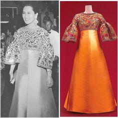 ฉลองพระองค์ชุดราตรี ตัดเย็บจากผ้าไหมชิเบอร์ลิน ปักประดับด้วยเลื่อม ลูกปัดและคริสตัล Carolina Herrera, Moroccan Kaftan Dress, Thai Fashion, Fashion Hair, Style Fashion, Fashion Ideas, Traditional Gowns, Thai Dress, Queen Dress