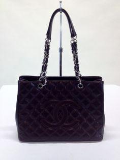 Chanel 'Grand Shopper' Tote in burgundy caviar leather