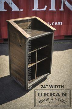 Hostess Station With Locking Storage Cabinet 1 Shelf