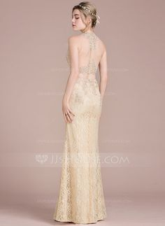 Trumpet/Mermaid Scoop Neck Floor-Length Beading Sequins Zipper Up Regular Straps Sleeveless No Champagne Spring Summer Fall General Plus Lace Height:5.7ft Bust:33in Waist:24in Hips:34in US 2 / UK 6 / EU 32 Prom Dress