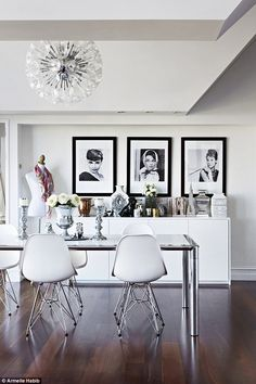 The dining chairs are replica Eames designs, available from Cult Furniture (cultfurniture.co.uk). For a similar polished aluminium dining table, try Barker and Stonehouse (barkerandstonehouse.co.uk)