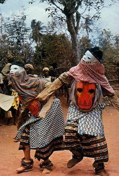 "Africa   Gelede Masqueraders.  Yoruba people, Nigeria.   © ""The Dance, Art and Ritual of Africa"".  Michel Huet, Jean Laude, Jean-Louis Paudrat.  Published in 1978, Pantheon Books"