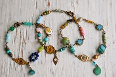 Gypsy girl. multi chain layered charm bracelet. by tiedupmemories