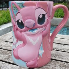 NEW 3D ANGEL DISNEY STORE PINK CERAMIC COFFEE & MILK & TEA MUG CUP NEW YEAR GIFT