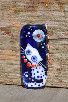 Lampwork cat bead focal bead blue blue red white by LailaStrazdina