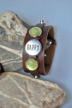 "Lederarmband ""Happy"" von DaiSign auf DaWanda.com"