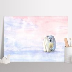 Polar bear in the icy dawn (Watercolor painting) Poster made out of metal by @savousepate on @displate #artprint #homedecor #polarbear #winter #snow #northpole #sunrise #pink #blue #rosequartz #serenity #pastel