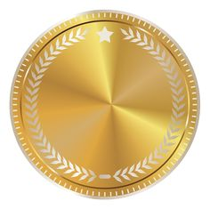 Gold Seal Badge with Decoration PNG Clipart Image