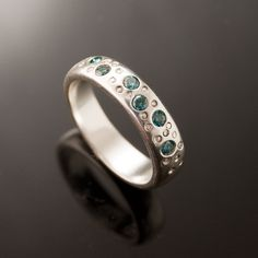 Blue Diamond Star Dust Wedding Ring in Sterling Silver, Silver/Palladium, Palladium, Platinum and Gold