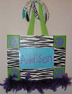 Personalized, Hand Painted  Canvas Wall Art (11x14 zebra with peace sign example). $35.00, via Etsy.