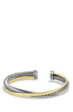 David Yurman 'DY Crossover' Cuff with Gold available at #Nordstrom