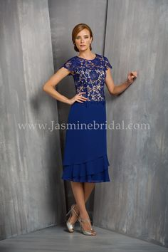 Jasmine Bridal Jasmine Black Label Style M170062 in Sapphire Navy / Quartz // Look distinguished and sophisticated in this Jade Chiffon A-line mother-of-the-bride dress. The special occasion gown features a jewel neckline, optional contrasting Quartz colored bodice lining, and a beautifully layered skirt.