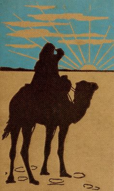 Zigzag journeys in the Camel Country 1911 Camel silhouette Canvas Art - Unknown x Beige Old Egypt, Egypt Travel, Silhouette Art, Camels, Bold Colors, Middle East, Art Images, Beast, Moose Art