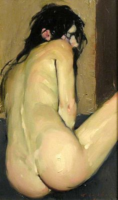 Malcolm T. Liepke (1953, American) Curled Up Nude