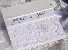 White lace wedding invitation  Elegant and Vintage inspired style