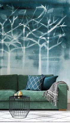 Watercolour Trees Living Room Wall Mural - Home Decor Ideas
