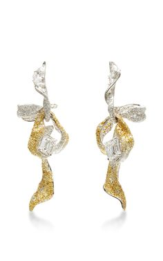 18K White and Yellow Gold Diamond Ribbon Earrings by Cindy Chao - Moda Operandi