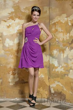 A-line One-shoulder Stretch Satin Chiffon Mini/Short Length Cocktail Dress