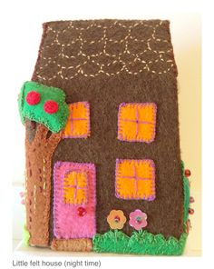 Little felt house (night time side) Hand sewn