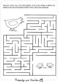 Bludiště slepička a kuřátka