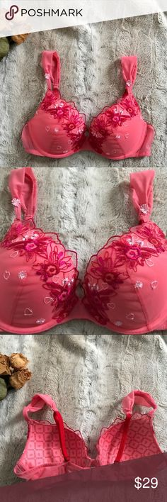 🆕 VICTORIA'S SECRET Valentine's Push-up Demi Bra BRAND NEW without tags Victoria's Secret Biofit Demi Uplift Bra Size 36B GORGEOUS embroidery in shades of pink, red, and white with a few pink sequins on the front ❤️💕 Mesh front, sides, and back Adjustable straps are red in the back, beautiful pink double straps in front with floral appliqué Clean pet free smoke free home Victoria's Secret Intimates & Sleepwear Bras