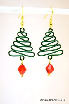Wire Wrapped Green Christmas Tree Dangling Earrings Red Crystal Bead