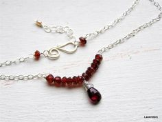 Garnet Necklace , Sterling Silver , Row Garnet Necklace , Pearl , Adjustable , January Birthday , Everyday Jewelry. $48.00, via Etsy.