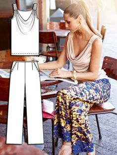Burdastyle wide leg pants + cowl tank. July 2013 collection is fab! We should sew this stuff.